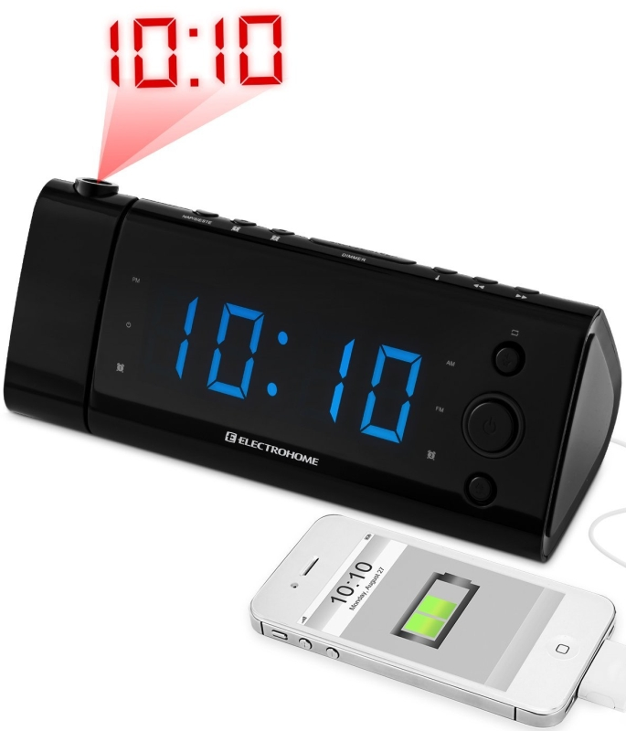 USB Charging Alarm Clock Radio with Time Projection