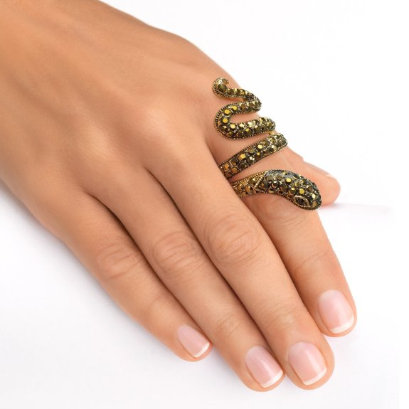 Black Crystal 14k Yellow Gold-Plated Coiled Snake Ring