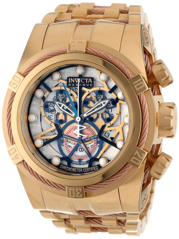 Bolt Reserve Chronograph Gold Tone and Beige Dial 18k Gold Ion-Plated Stainless Steel Watch