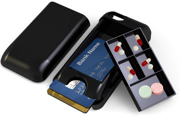 Iphone 55s Storage Case and Pill Organizer Pocketbuddy