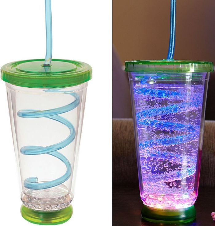 Lighted Disco Cup Swirly Party Straw Drink