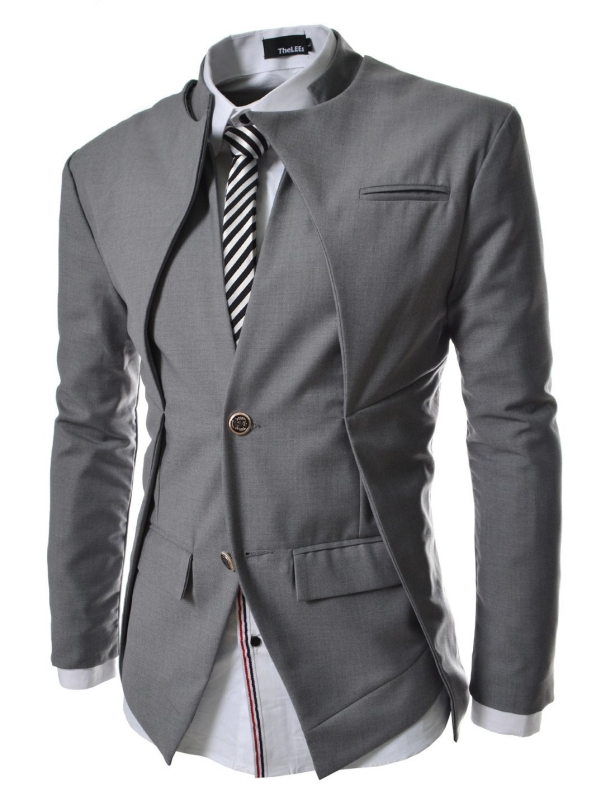 Mens Slim Fit Double Collar 2 Button Blazer Jacket