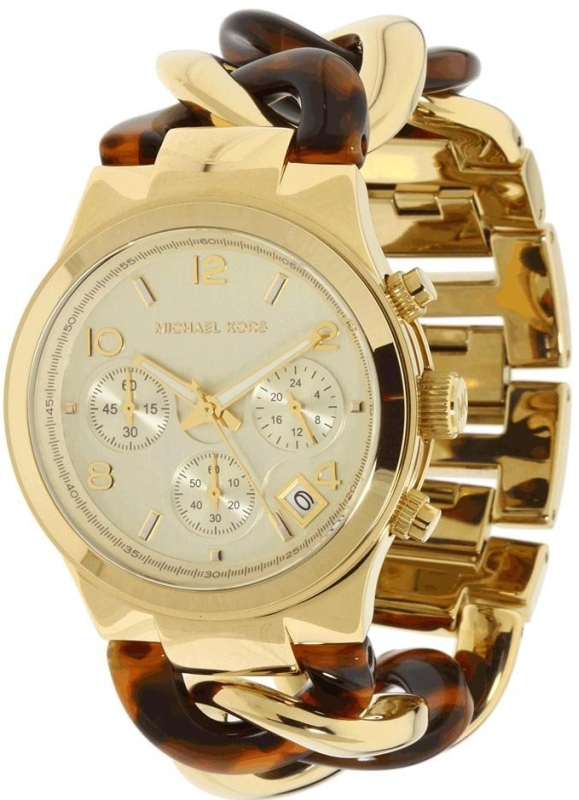 Michael Kors Chain Link Acrylic Gold-tone Ladies Watch