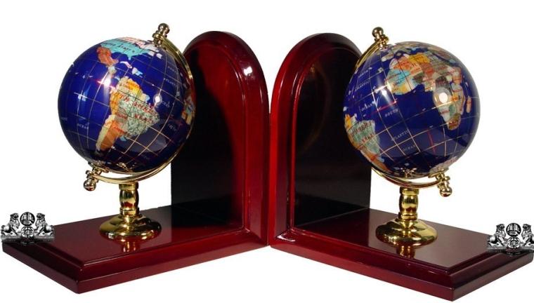Ocean Gemstone World Globe Bookends