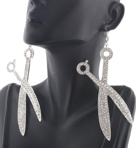 Scissor Style 5 Inch Dangle Earrings