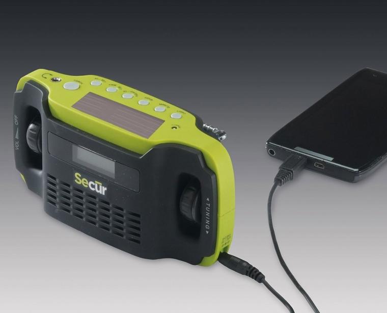 Secur Digital Solar Dynamo AMFM Radio, Alarm Clock, Smartcell phone Charger, 3 LED Flashlight