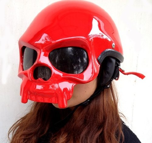 Skeleton Motorcycle Red Skull Helmet
