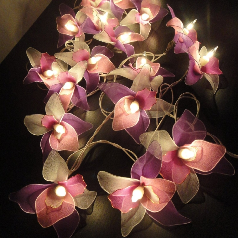 Thai Vintage Handmade 20 White Pink Purple Orchid Flower