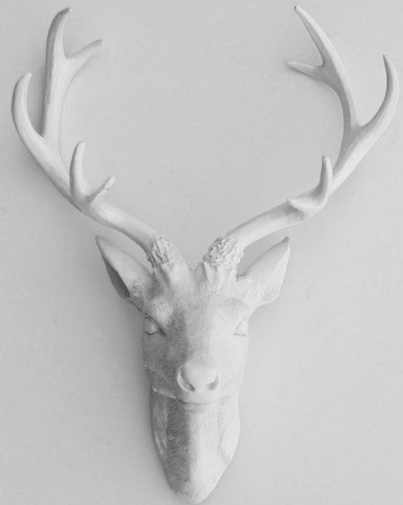 White Resin Deer Sculpture Head