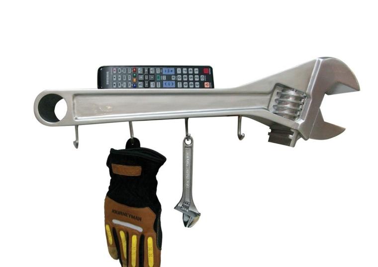Wrench 3-D Coat Rack Wall Dress Hanger With Shelf