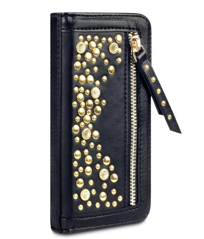 iPhone 5C Stardust Studded Zipper Faux Leather Wallet Case