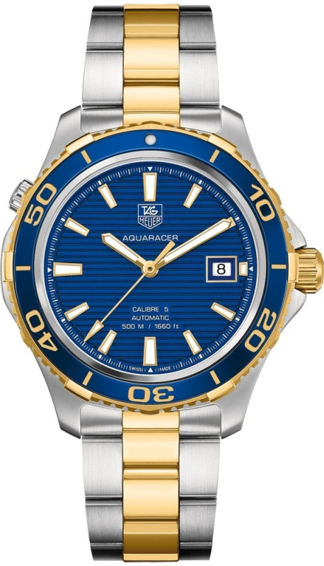Aquaracer Blue Dial Yellow Gold Plated and Stainless Steel Mens Watch