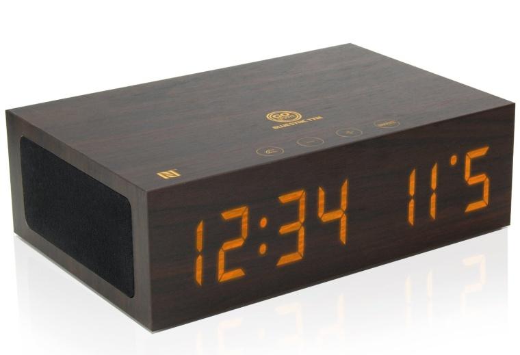 Bluetooth Wireless Stereo Speaker Wooden Alarm Clock