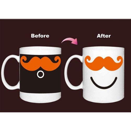 Ceramic Mustache Cup Color Changing Mug Coffee Milk Cup