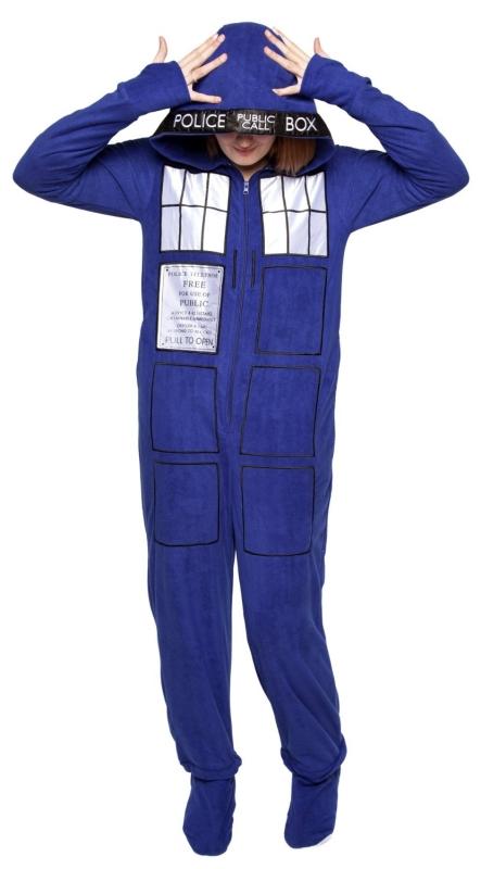 Doctor Who Tardis Zip-up Footed Pajamas