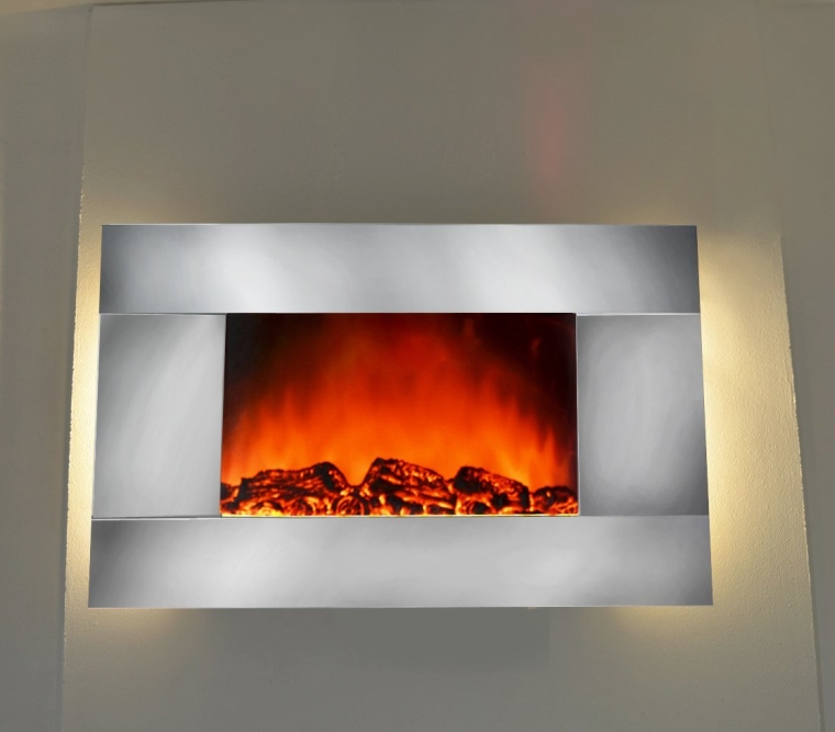 Electric Fireplace Heater Wall Mount with Remote Control and Backlight