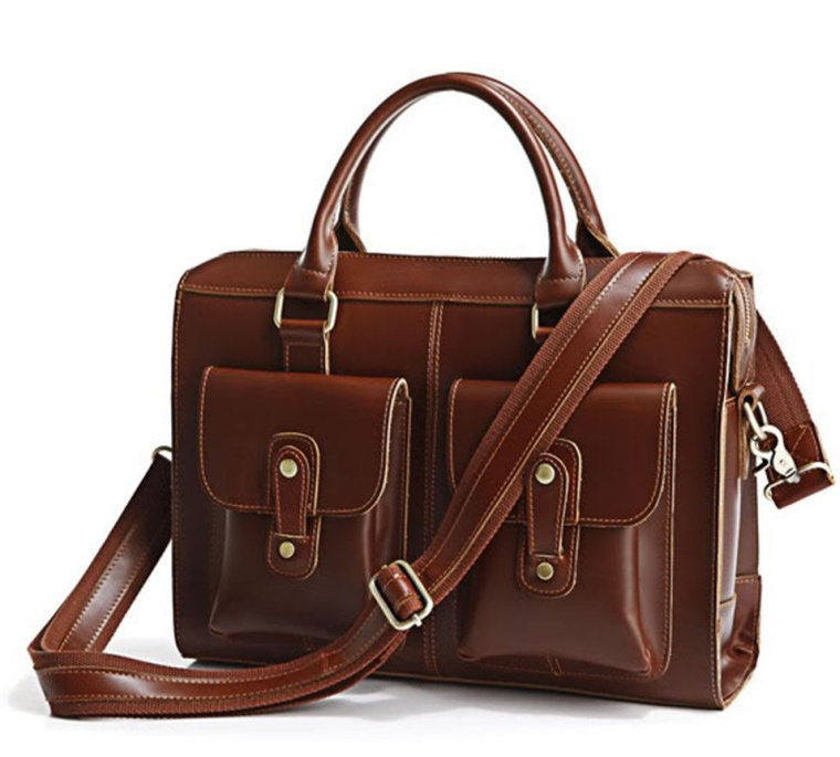 Leather 14-Inch Briefcase Laptop Bag