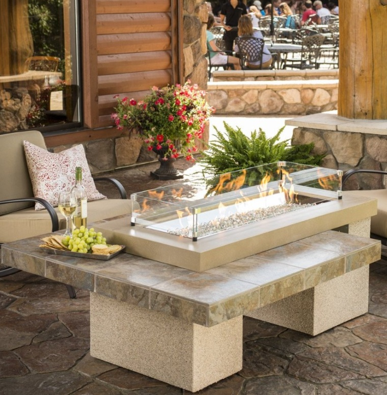 Outdoor Greatroom Uptown Chat Height Brown Gas Fire Pit Table
