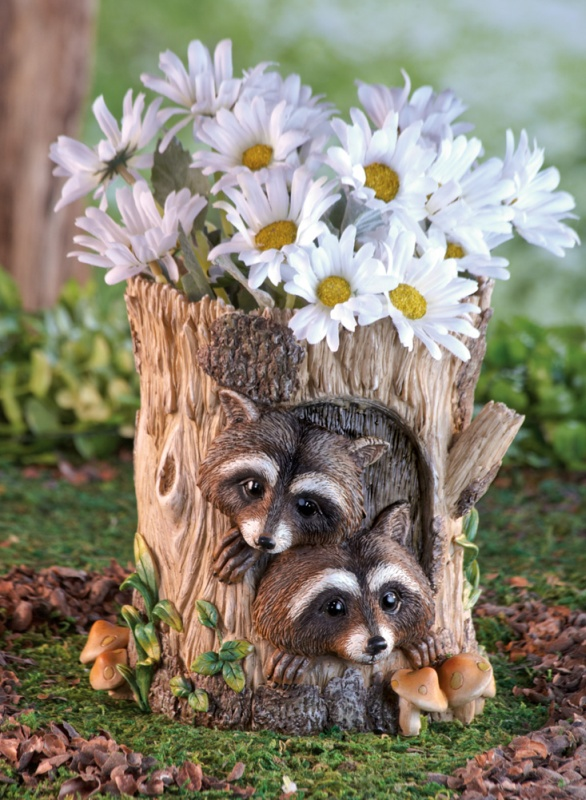 Peeking Raccoons Decorative Garden Planter