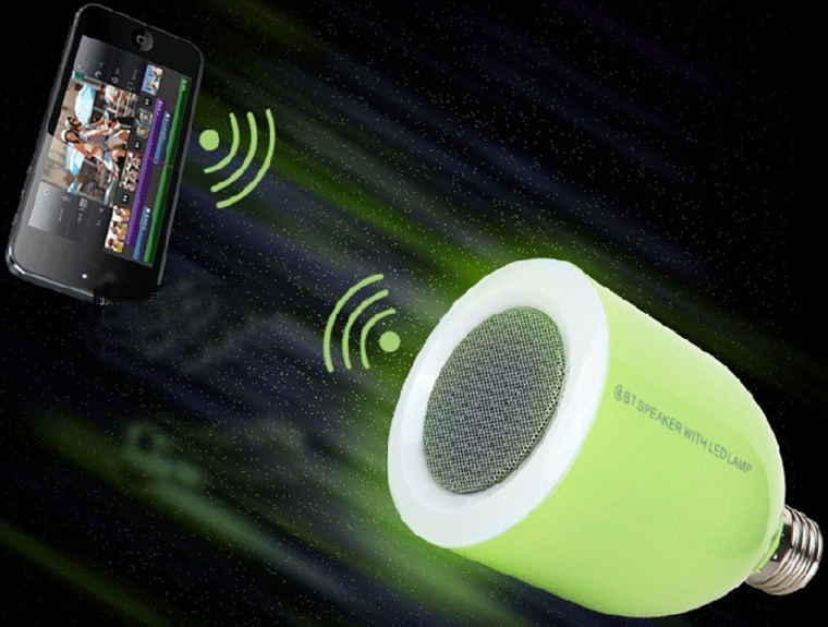 Bluetooth Speaker with LED Bulb E27 Lamp Brightness and Volume Remote Control