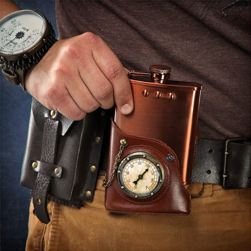 Capt. Jules Everlasting Steampunk Flask w Leather Holster