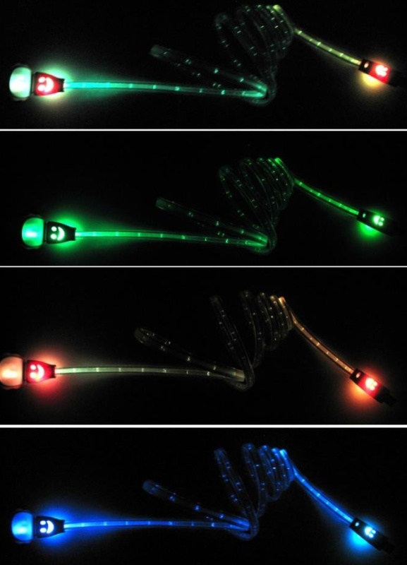Flash Color LED Light USB Sync Charger Cable
