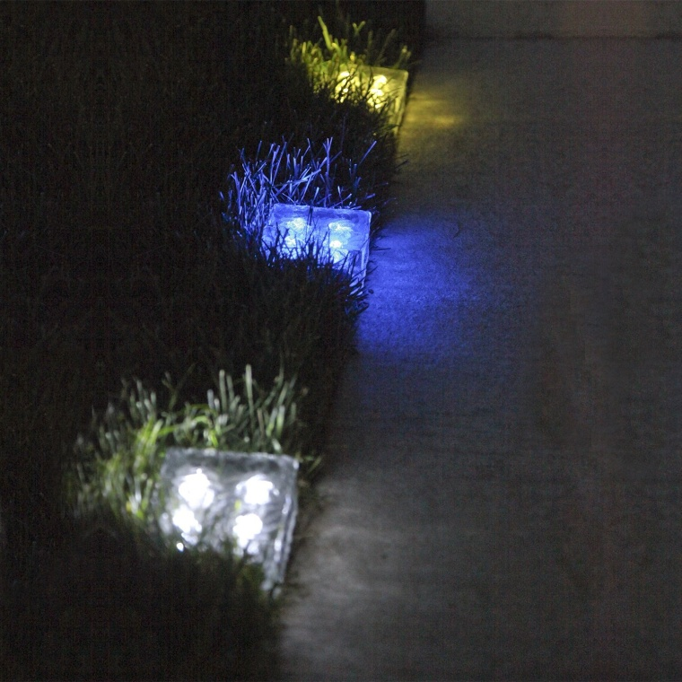Frosted Glass Solar Brick Paver Light with 4 LEDs