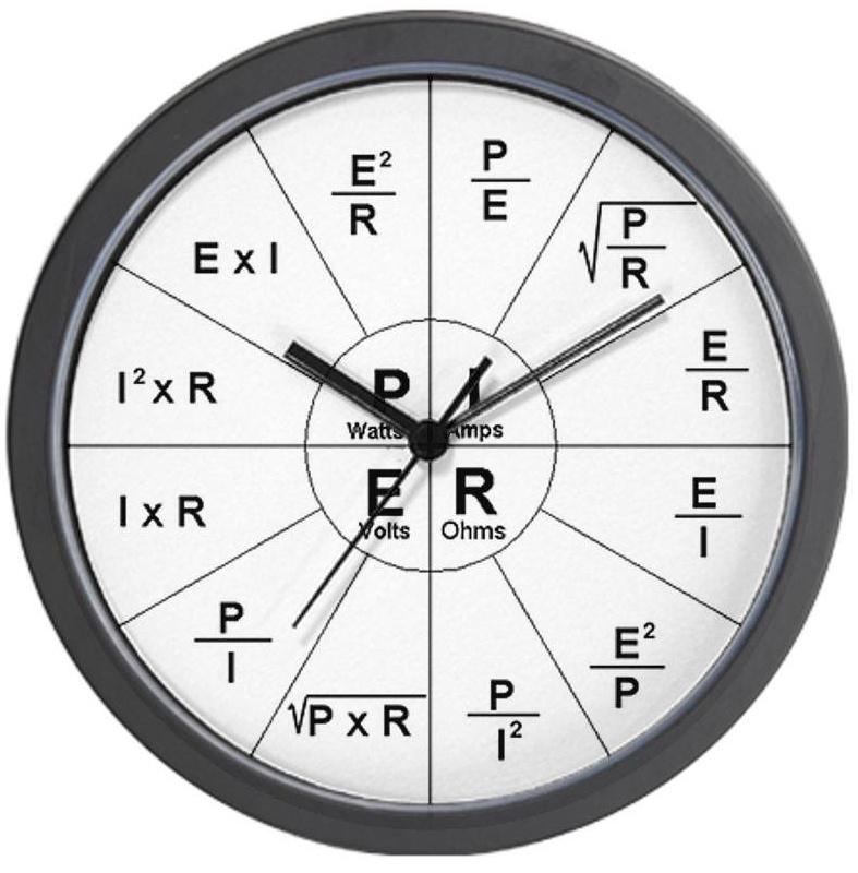 Ohms Law Wall Clock