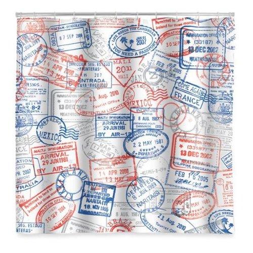 Passport Stamps Vinyl Shower Curtain
