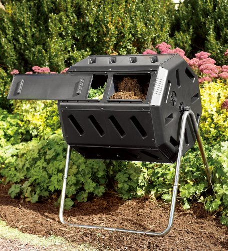 Rotary Garden Composter with 2 Compartments and Adjustable Air Vents