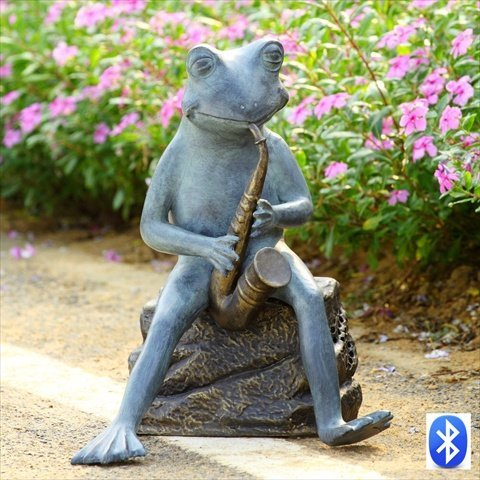 Spi Frog Bluesman With Bluetooth Speaker Garden Sculpture
