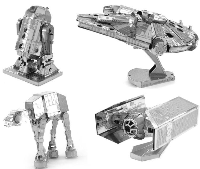 Star Wars Set of 4 3D Metal Models