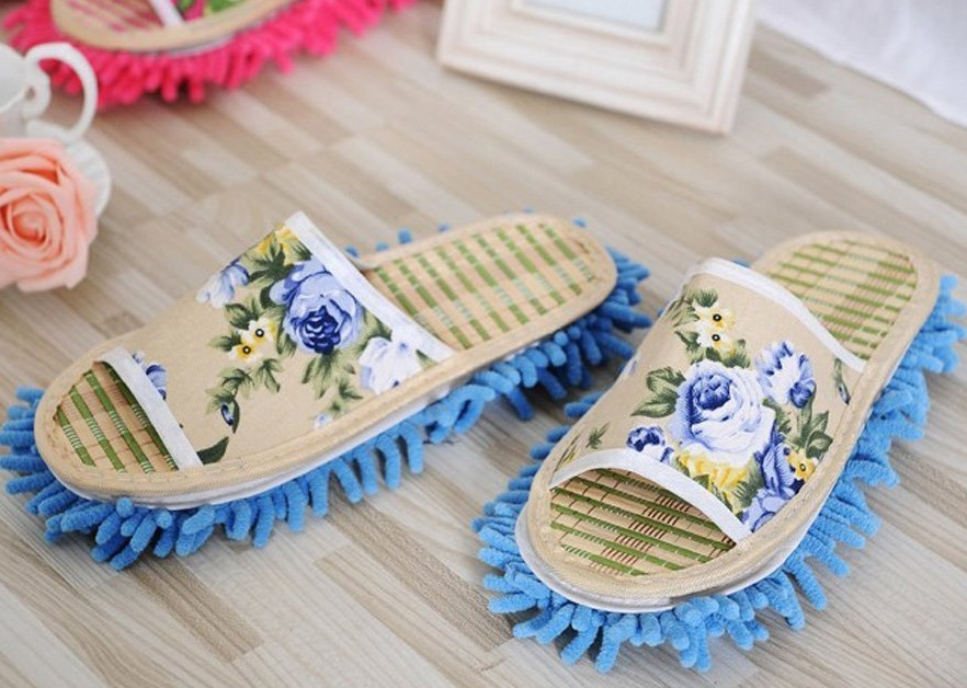 Chenille Dust Floor Cleaning Mopping Slippers