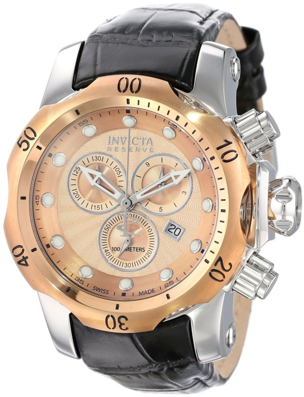 Invicta Mens Dial Black Leather Watch