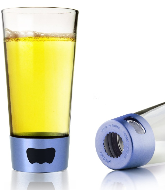 Pint Glass with Built-In Opener