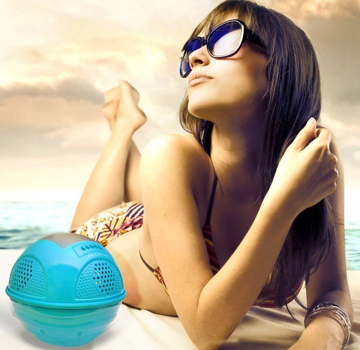 Aqua SunBlast Floating Bluetooth Waterproof Speaker System with Solar Panel Rechargeable Battery and FM Radio