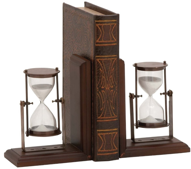 Attractive Styled Wood Metal Bookend Pair
