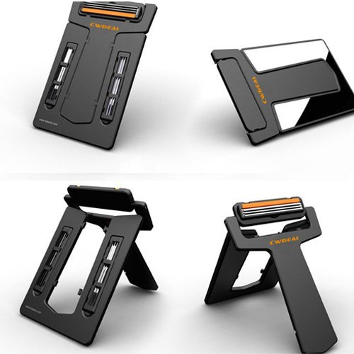 Credit Card Style Portable Wallet Shaver Razor Blades Mirror