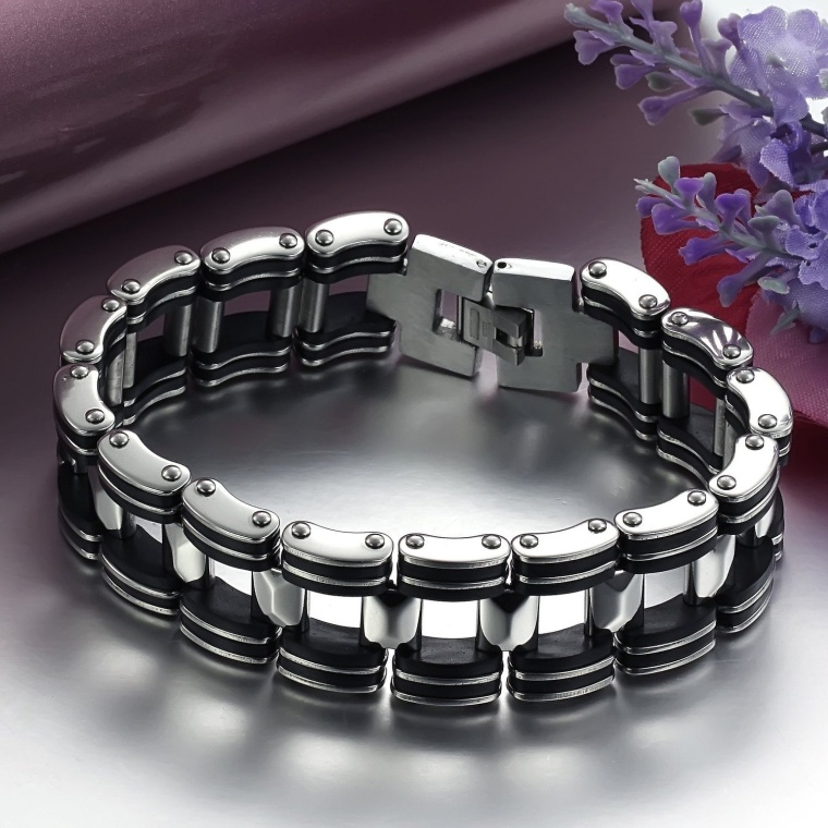 Mens Titanium Bracelet Harley Bike Chain Design Pain Relief Sporting