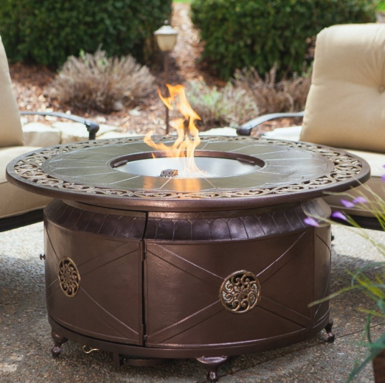 Red Ember Richland 48 in. Round Propane Fire Pit Table with Decorative Scroll