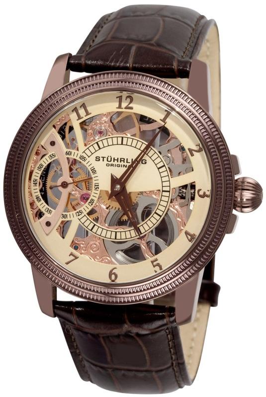 Stuhrling Original Men Mechanical Skeleton Brown Watch