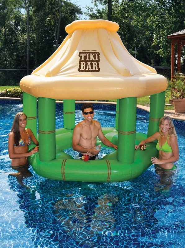 Swimming Pool Inflatable Floating Tiki Swim Up Bar wIce Coolers
