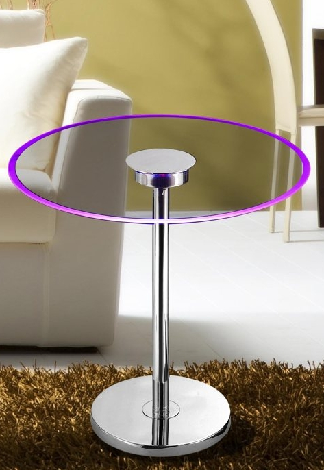 24 Light 20 Color Changing LED Chrome Finish Glass Table