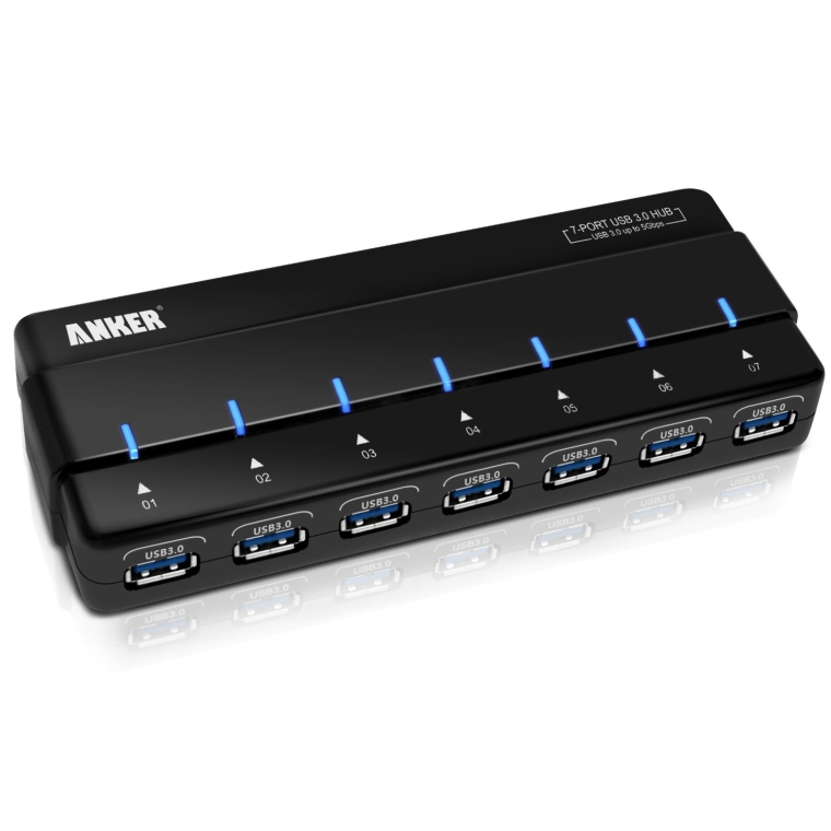 Anker USB 3.0 7-Port Hub with 36W Power Adapter