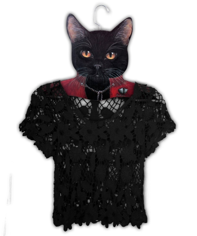 Clothing Hanger Black Cat Wearing Red Jacket