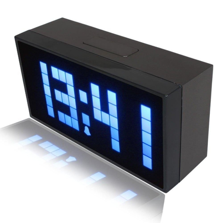 Digital Large Display Soft Blue LED Light Snooze Wall Desk Alarm Calendar Clock