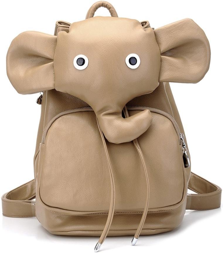Elephant Students Leather Shoulder Bag Hiking Daypack Laptop Backpack