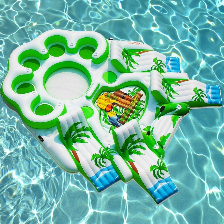 Floating 9-seat Inflatable Sofa Lounger Island, Diving Board  Cup Holders