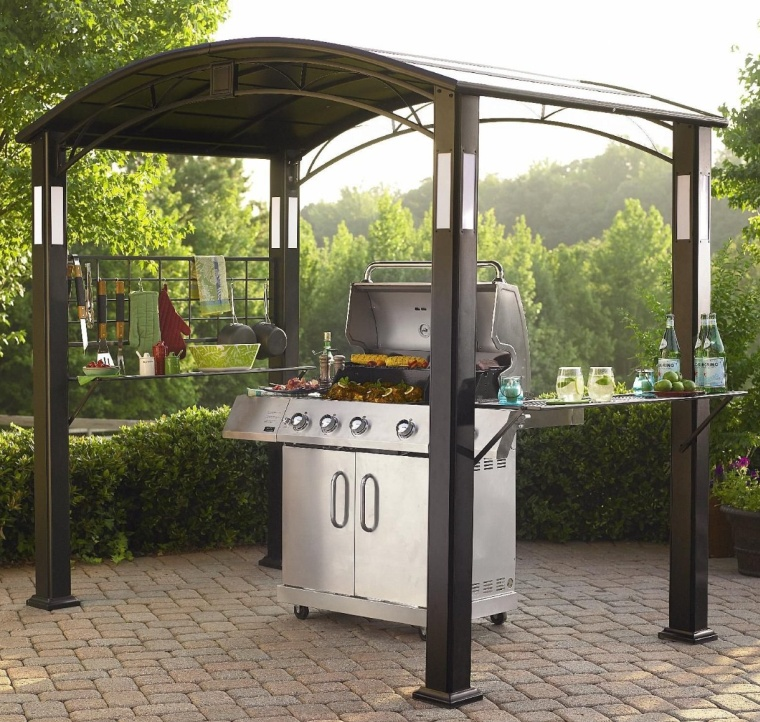 Grill Gazebo with Accent Lighting for Deck and Patio Grills
