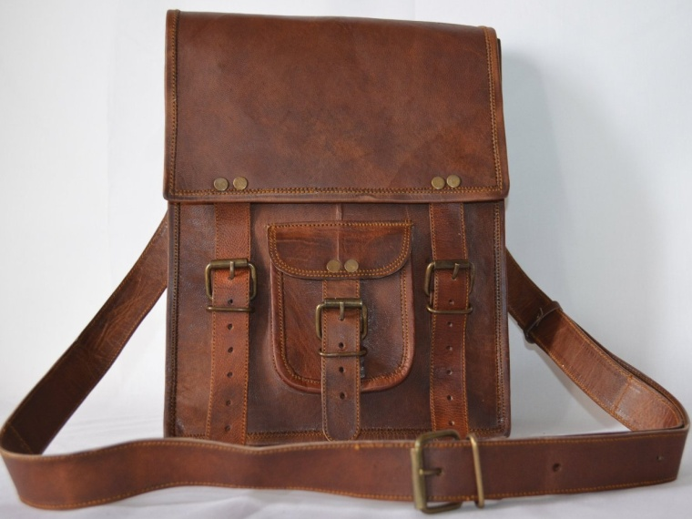 Handmade Sturdy Ipad Leather Messenger Satchel Shoulder Strap Bag